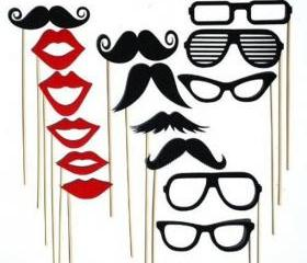 Wedding Party Photo Booth Prop Masks Mustache Eye Glasses Lips on a Stick Set of 15